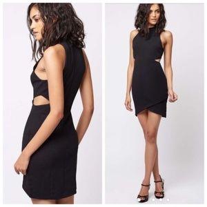 Topshop Cut-out Wrap Bodycon Black Mini Dress